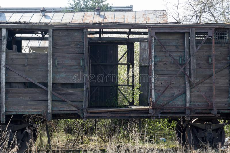 Old wooden ruined boxcar royalty free stock photos