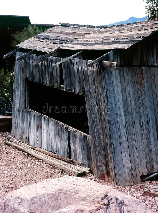 Old wooden Shack. Old weather beaten wooden shack in the desert stock images
