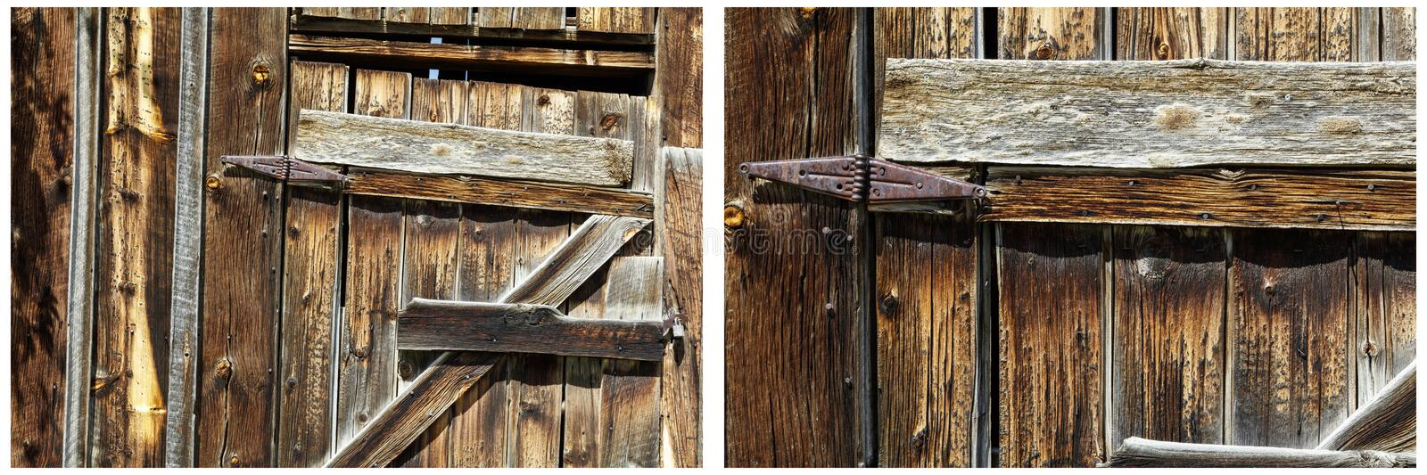 Old wooden shed door rusted hinges collage royalty free stock photo