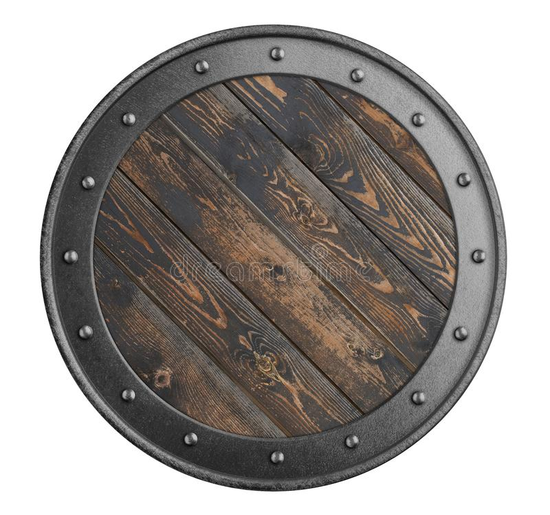 Old wooden shield of vikings isolated 3d illustration. Old wooden shield of vikings isolated on white stock photo