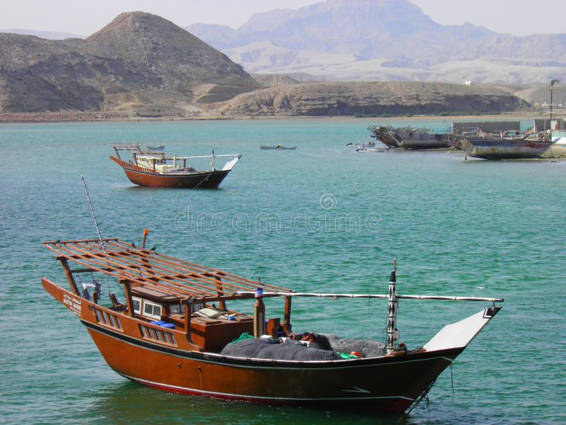 Old wooden ship in the harbor of Sur, Sultanate of Oman royalty free stock image