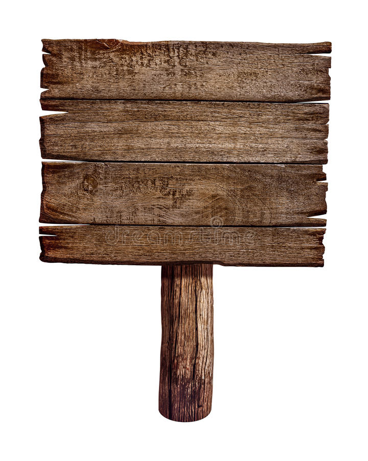 Old wooden sign board or post stock images