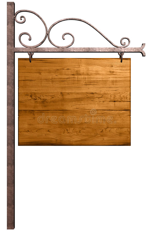 Old wooden signboard. Isolated on white, with clipping path royalty free illustration