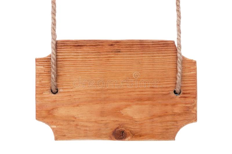 Old wooden signboard of light wood, hanging on ropes. Isolated. On white background royalty free stock photo