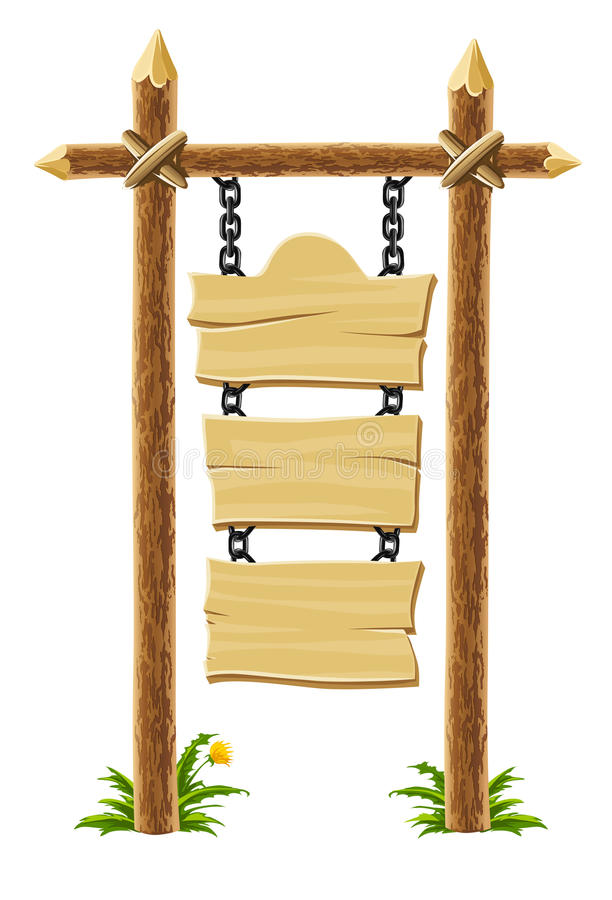 Old wooden signboard on post with chain vector illustration