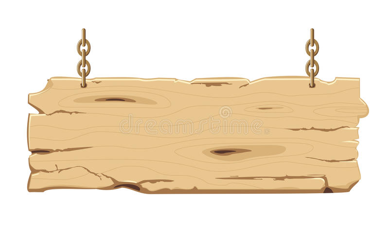 Old wooden signpost on the chain. Old blank wooden signpost on the chain, vector illustration royalty free illustration