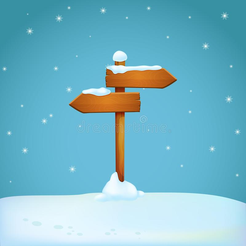 Old wooden signpost covered with snow on the snowy ground. Two arrow shaped planks pointing in different directions. vector illustration