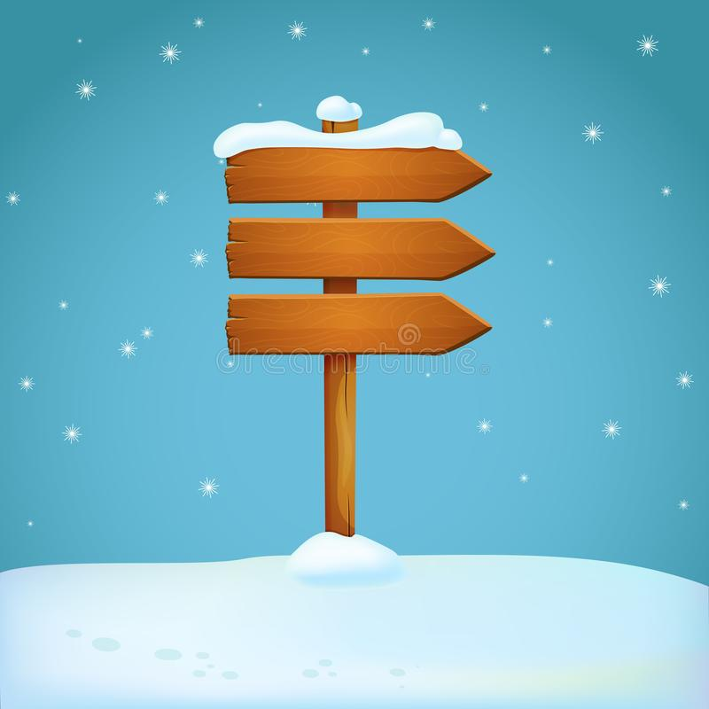Old wooden snow covered arrow signpost on the snowy ground. Three planks pointing in the same direction. Blue background with falling snowflakes. Winter season stock illustration
