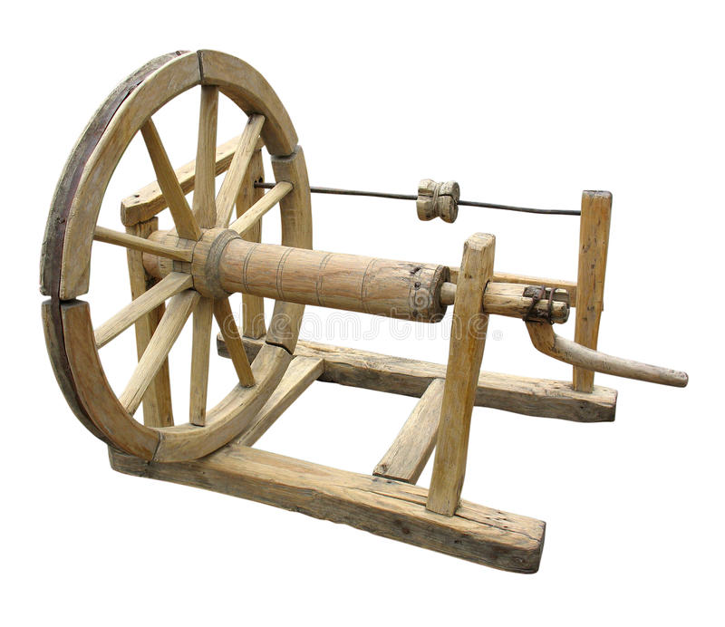 Old Wooden Spinning-wheel Distaff Isolated Royalty Free Stock Photography