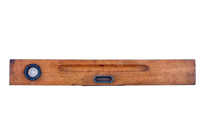 Old wooden spirit level on a white background royalty free stock image