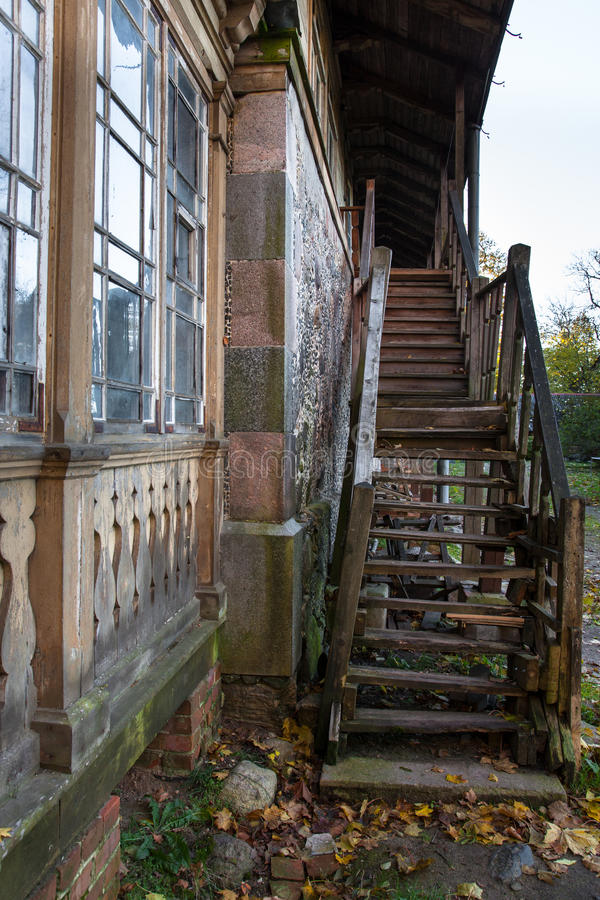 Old wooden staircase royalty free stock images