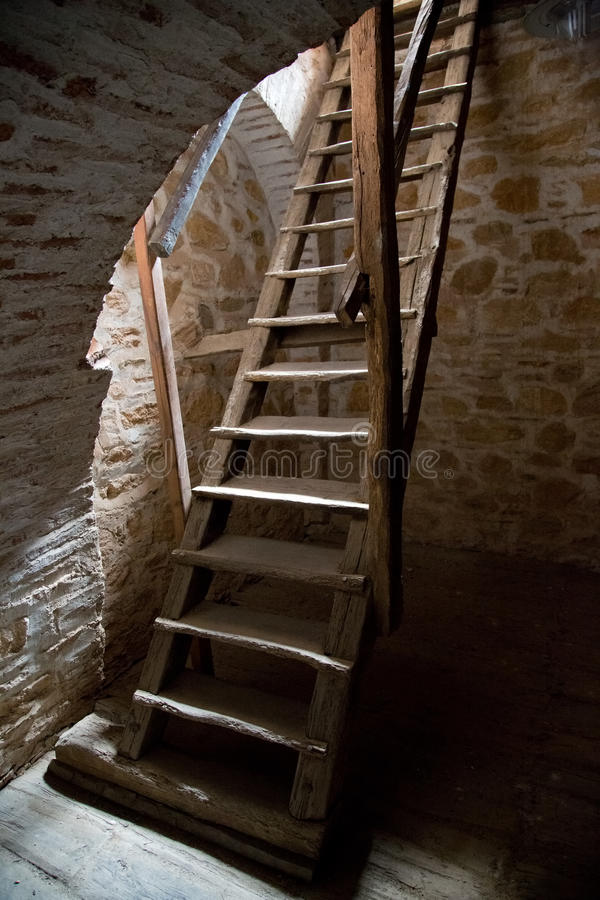 Mentmore Tower Staircase : Old wooden stairs in the tower stock photo image