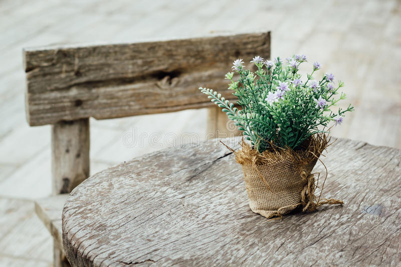 Old wooden table stock photo