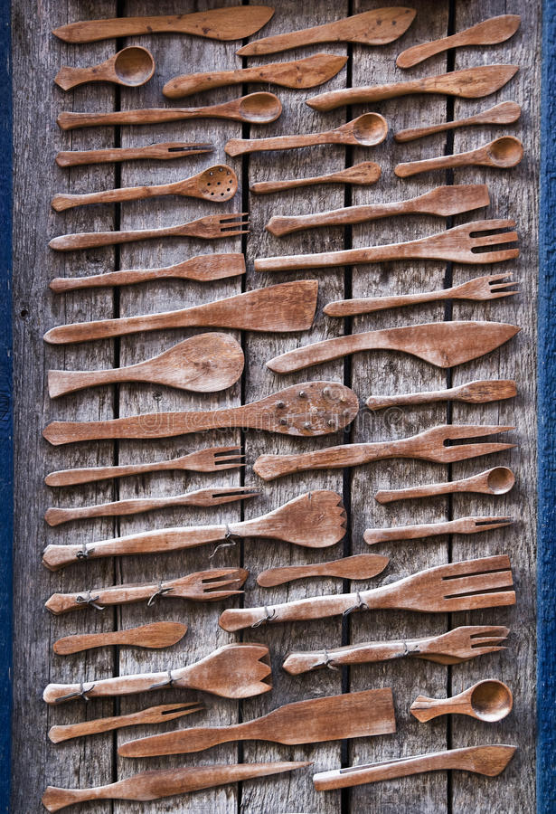 Old wooden tableware royalty free stock photo