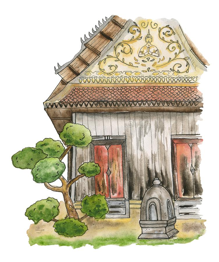 Old wooden temple of Thailand. A traditional wooden building on a Buddhist temple grounds. vector illustration
