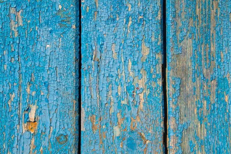 Old wooden texture with shabby blue paint stock photos