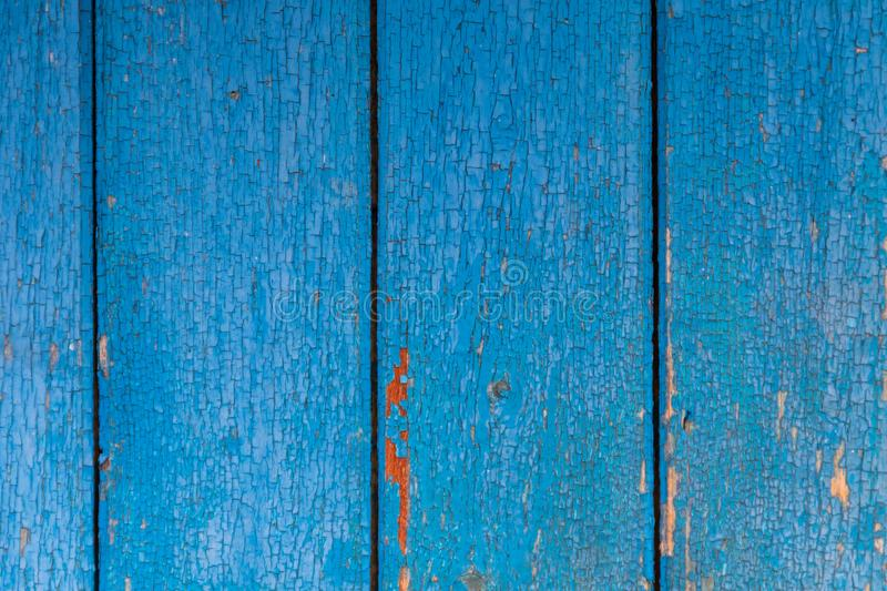 Old wooden texture with shabby blue paint stock image