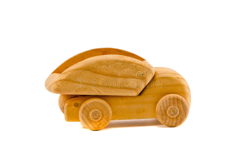 Old wooden truck toy isolated on white stock photos