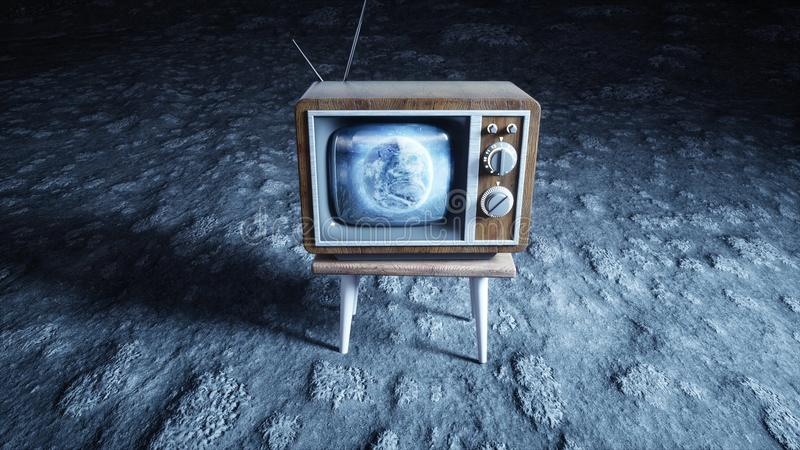 Old wooden vintage TV on the moon. Earth background. Space concept. Broadcast. 3d rendering. Old wooden vintage TV on the moon. Earth background. Space concept royalty free stock images