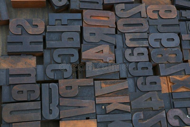 Old wooden vintage typography printing blocks royalty free stock image