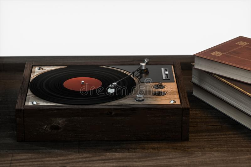 The old wooden vinyl record player on the table, 3d rendering. Computer digital drawing, decoration, song, classical, melody, musical, close-up, media royalty free illustration