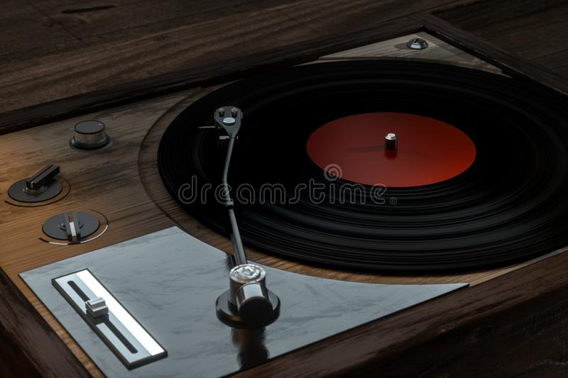 The old wooden vinyl record player on the table, 3d rendering. Computer digital drawing, decoration, song, classical, melody, musical, close-up, media stock illustration
