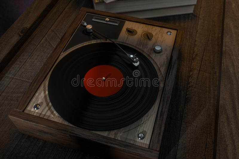 The old wooden vinyl record player on the table, 3d rendering. Computer digital drawing, decoration, song, classical, melody, musical, close-up, media vector illustration
