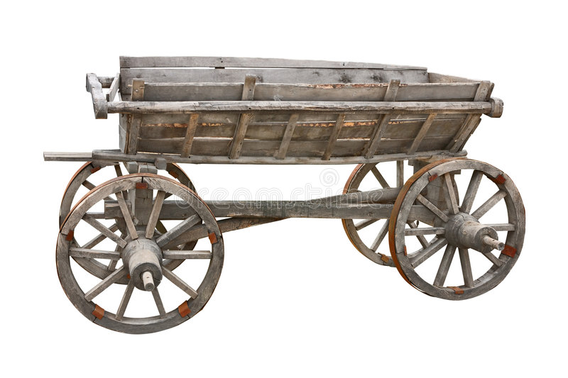 Old wooden wagon cutout. Old wooden wagon isolated on white background with clipping path. For more isolated objects please visit my collections royalty free stock photo