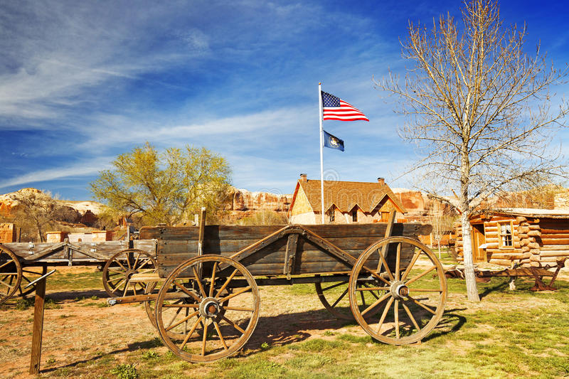 Old wooden wagon. In a pioneer village royalty free stock images
