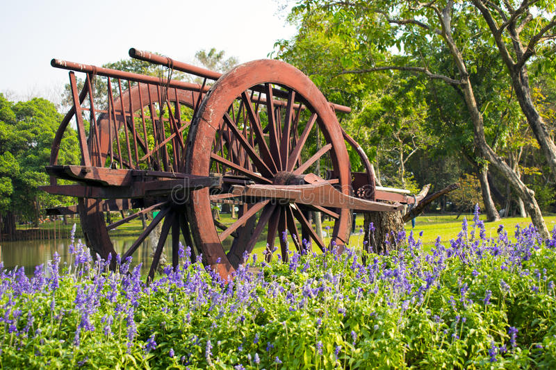 Old wooden wagon and purple flower in garden royalty free stock photos
