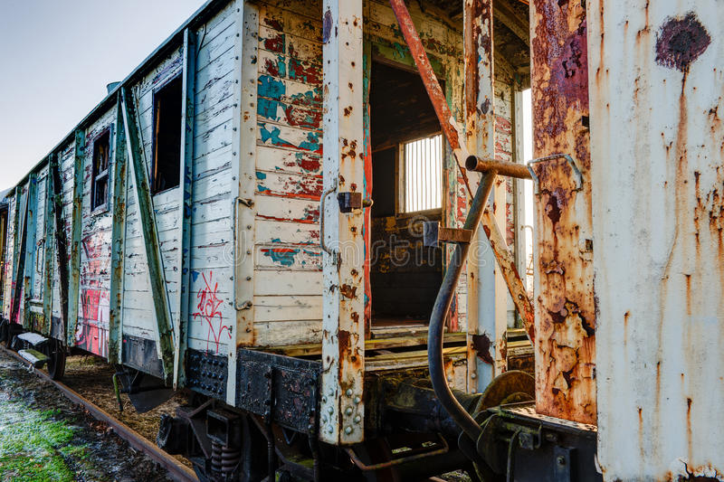 Old wooden wagon of train stock images