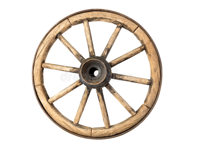 Old wooden wagon wheel. Isolated on white background stock image