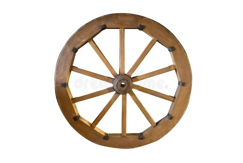 Old wooden wheel isolated stock image