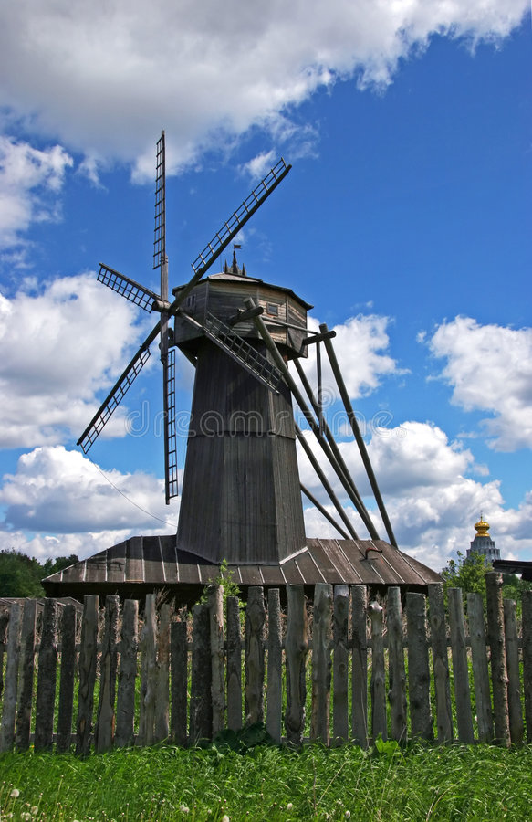The old wooden wind mill stock photography