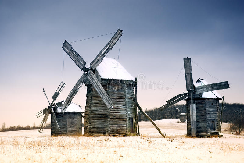 Old Wooden Windmill Editorial Stock Image