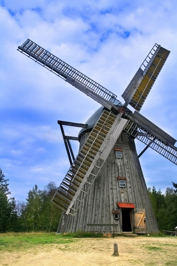 Download Old wooden windmill stock photo. Image of trees, cloudscape - 6139074
