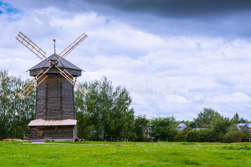 An old wooden windmill royalty free stock images