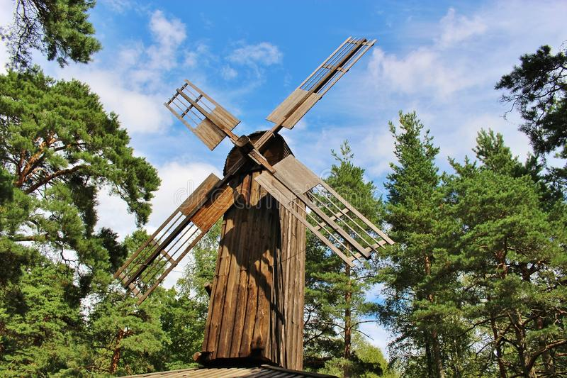Old wooden windmill in Karlstad, Sweden. It is located in the leisure park Leklandet on the hill Marieberg. Scandinavia, Europe stock photography