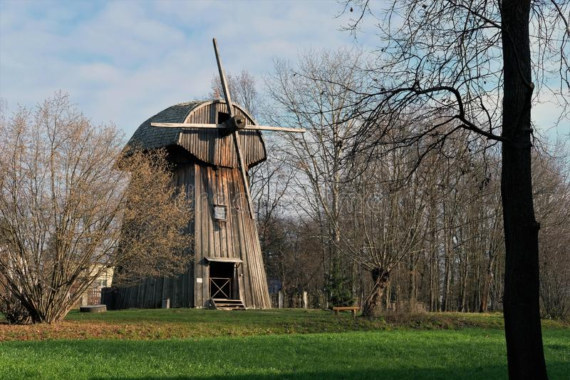 Old wooden windmill - part of rural landscape in Poland.  stock image