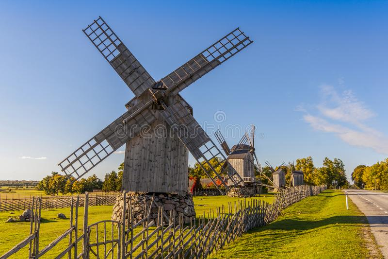 Old wooden windmills in Saaremaa royalty free stock image