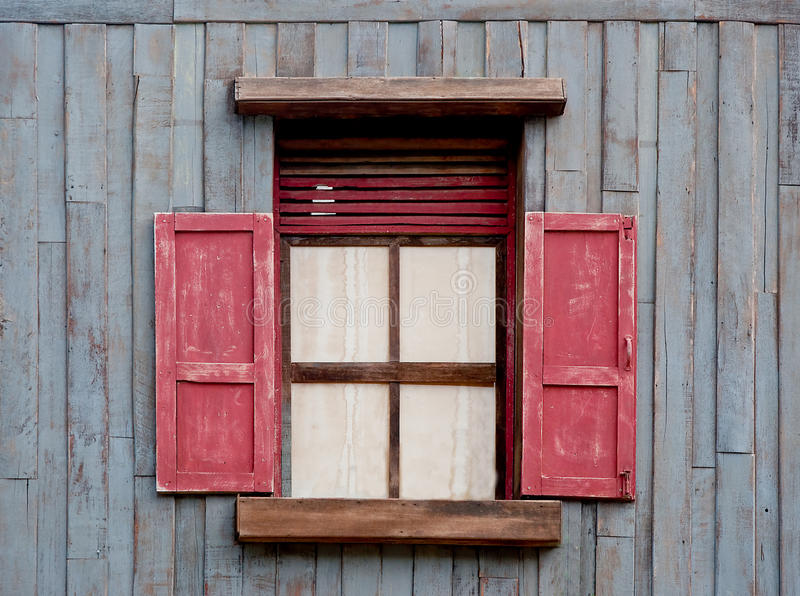 The Old wooden window stock images
