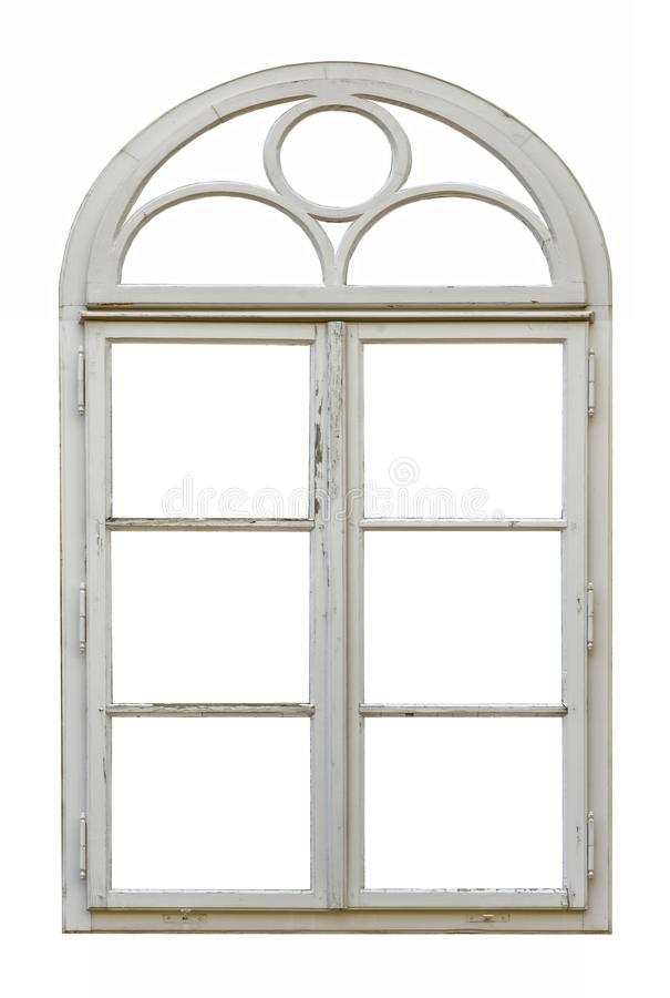 Old wooden window with arch stock photography