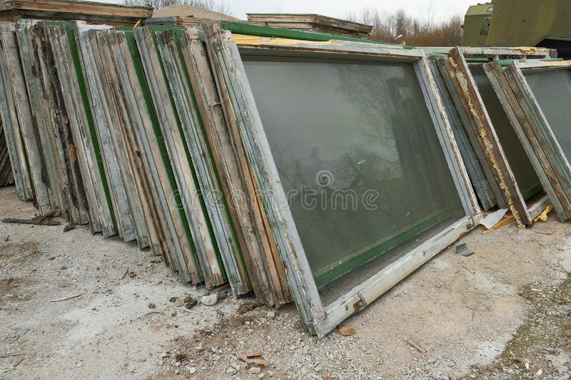 Old Wooden Window Frames With Glass Stock Photo - Image of paint ...