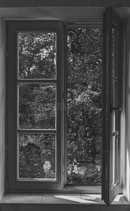 Old wooden window and view of trees, Black and White. In the Mill stock images