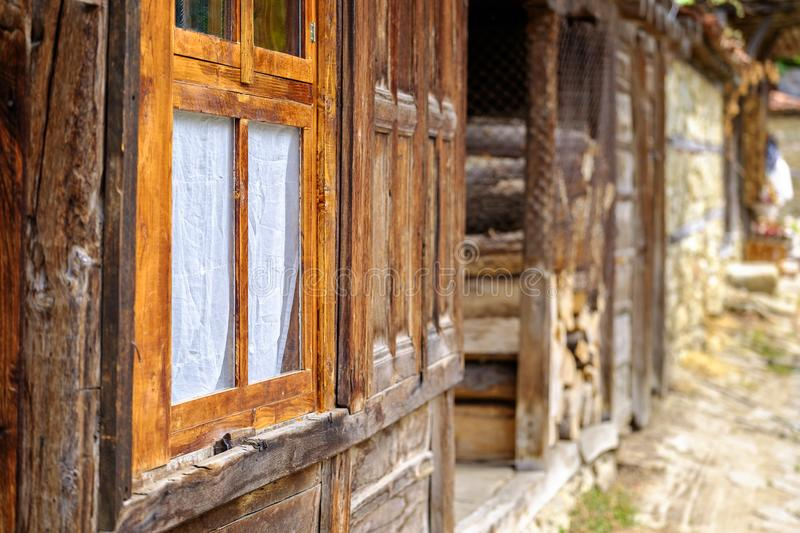 Old wooden window of authentic house in village 2 royalty free stock image