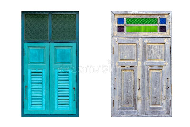 Old wooden windows with colorful glass on white background with clipping path stock photography