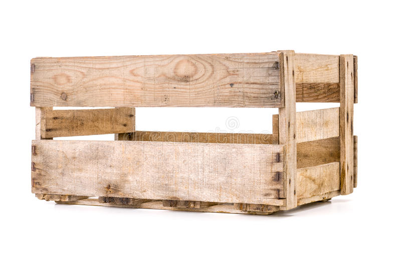 Old wooden wine crate. On a white background royalty free stock photo