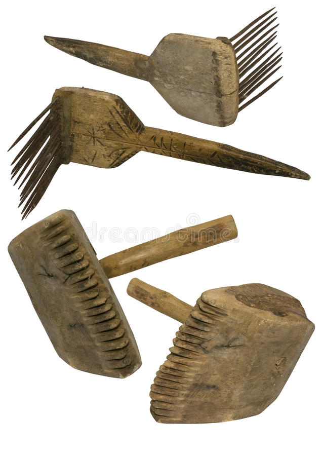 Download Old wool comb and mallet stock image. Image of tool, roll - 35205689