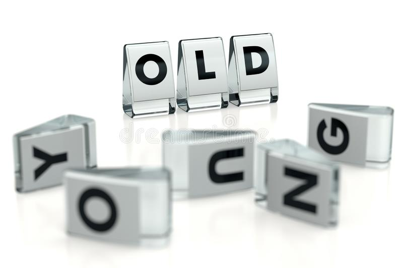 OLD word written on glossy blocks and fallen over blurry blocks with YOUNG letters, isolated on white background. Old means more vector illustration