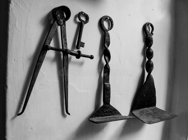 Old work tools royalty free stock photos